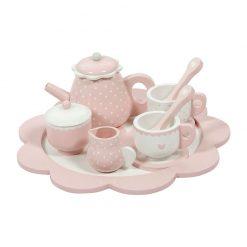 Drevená čajová sada - ružová 1