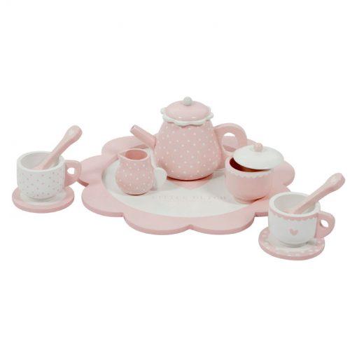 Drevená čajová sada - ružová 2