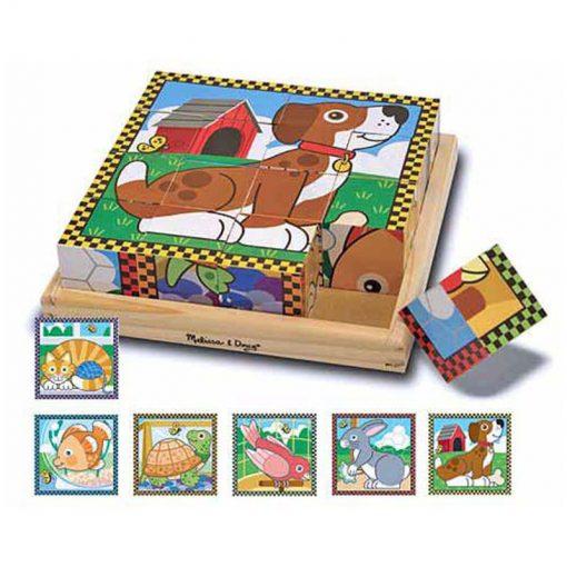 Drevené kocky - Domáce zvieratká 1