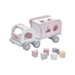 Drevené nákladné auto s kockami - pink 1