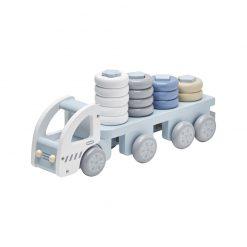 Drevené nákladné auto s krúžkami - blue 1