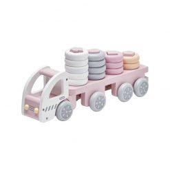 Drevené nákladné auto s krúžkami - pink 1