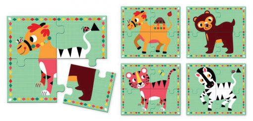 Drevené puzzle - Bláznivé zvieratká 2