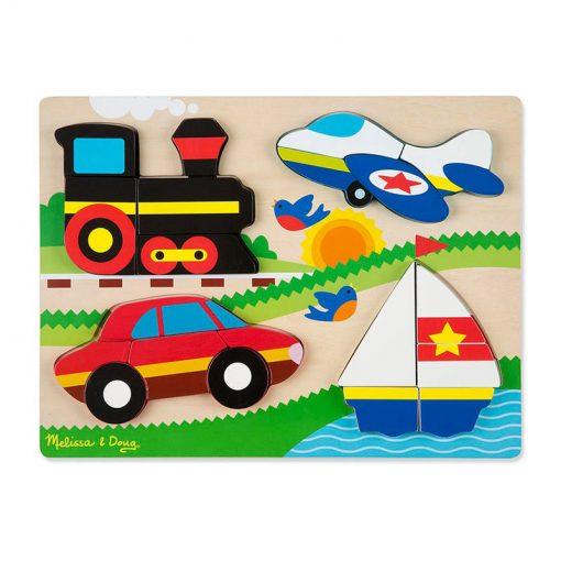 Drevené skladacie puzzle - Dopravné prostriedky 1