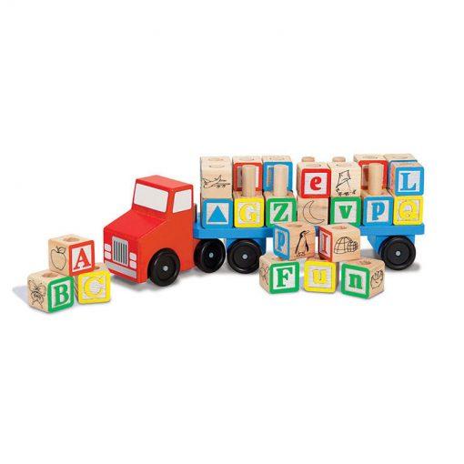 """Drevený kamion s """"abc"""" kockami 1"""
