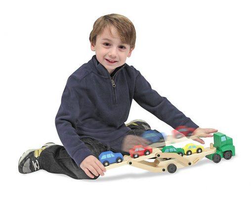 Kamiónik na autá a drevené autíčka 2