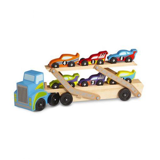 Kamiónik na autá a drevené pretekárske autíčka 1