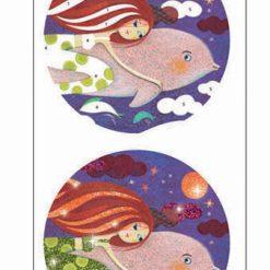 Kreslenie s farebnými gliterkami - Morské panny 5