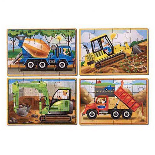 Puzzle v krabici - Stavebné autá 2