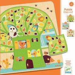 Trojvrstvové drevené puzzle - Stromček domček 1