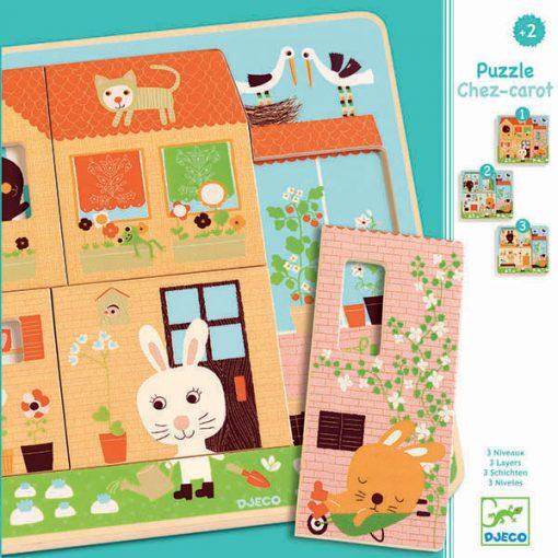 Trojvrstvové drevené puzzle - Zajačia rodinka 1