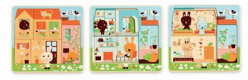 Trojvrstvové drevené puzzle - Zajačia rodinka 2
