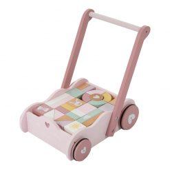 Vozíček s kockami - ružová 1