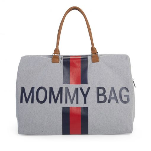Prebalovacia taška Mommy bag Grey Stripes Red Blue 1