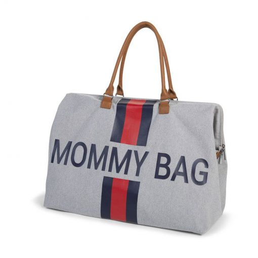 Prebalovacia taška Mommy bag Grey Stripes Red Blue  2