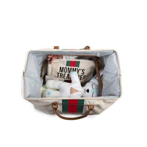 Prebalovacia taška Mommy bag off White Green Red 5