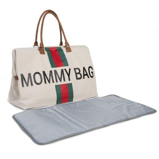 Prebalovacia taška Mommy bag off White Green Red 6