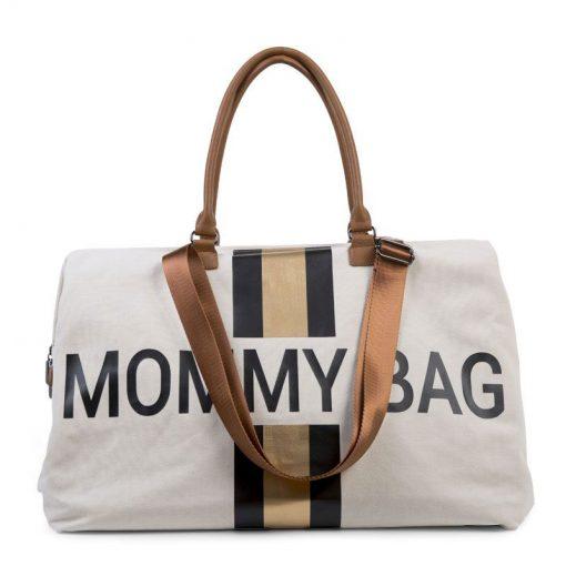 Prebalovacia taška Mommy bag White Black Gold 5