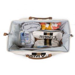Prebalovacia taška Mommy bag White Black Gold 6