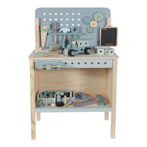 Drevený pracovný stôl s opaskom na náradie 1