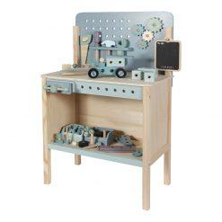 Drevený pracovný stôl s opaskom na náradie 3