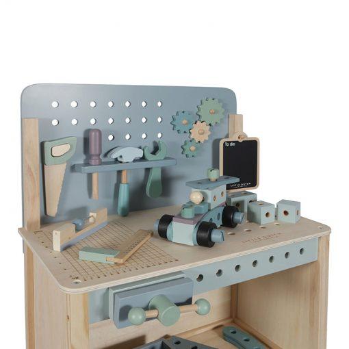 Drevený pracovný stôl s opaskom na náradie 5