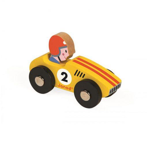 JANOD Drevené auto Story Racing Racer žlté-1