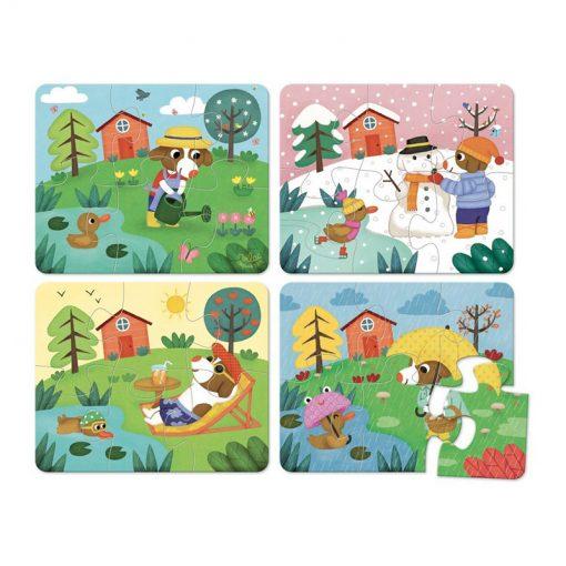 VILAC Drevené puzzle 4 ročné obdobia-1