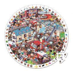 JANOD Detské okrúhle puzzle Požiarnici v kufríku 1