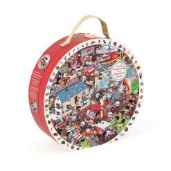 JANOD Detské okrúhle puzzle Požiarnici v kufríku 2