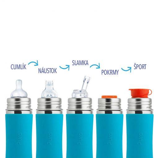 Pura termo fľaša s náustkom Sivá 5