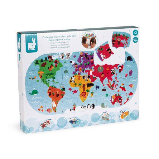 Janod Hračka do vody Puzzle Mapa sveta 3