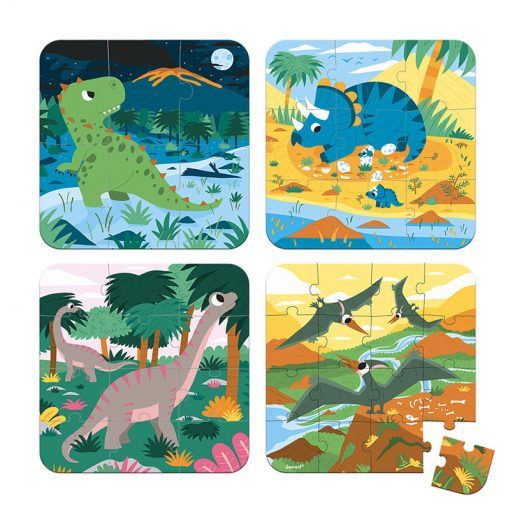Janod Puzzle 4v1 Dinosaury 1
