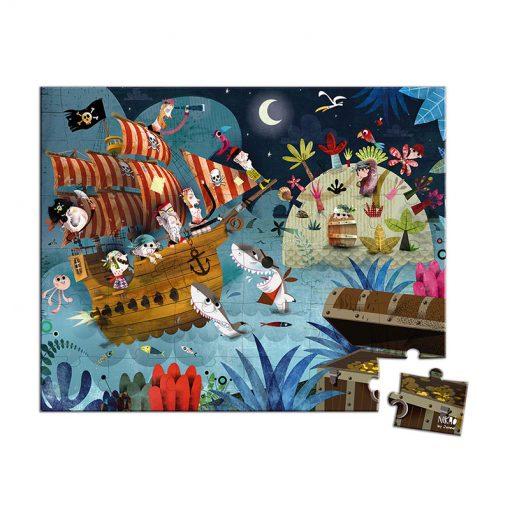 Janod Puzzle Lovci pokladov v okrúhlom kufríku 1