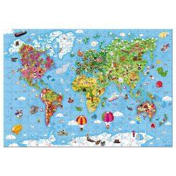 Janod  Puzzle Mapa sveta v okrúhlom kufríku 1