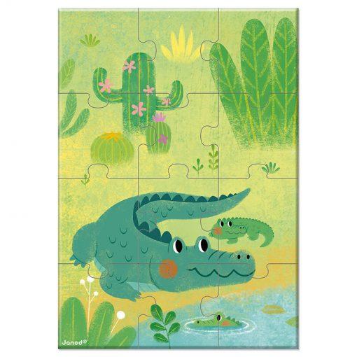 Janod Mini Puzzle Zvieratká Krokodíl 1