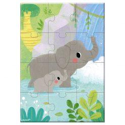 Janod Mini Puzzle Zvieratká Slon 1