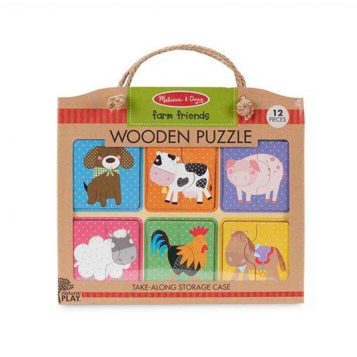 Melissa & Doug Drevené puzzle Priatelia z farmy 1