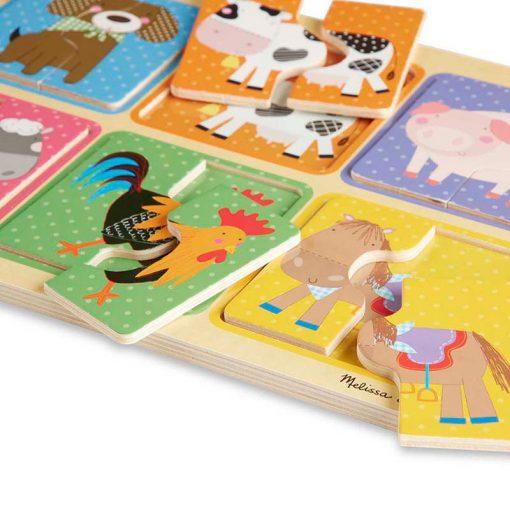 Melissa & Doug Drevené puzzle Priatelia z farmy 4