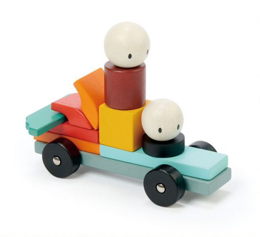 Tender Leaf Toys Drevená magnetická stavebnica Racing 2