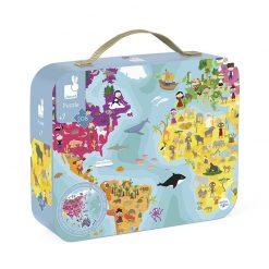 Janod Obojstranné puzzle Zemeguľa v kufríku 2