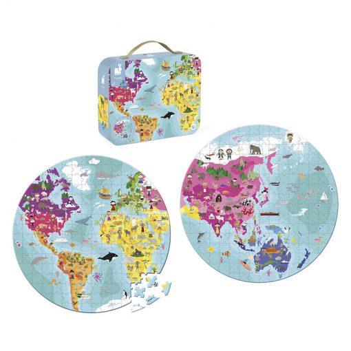 Janod Obojstranné puzzle Zemeguľa v kufríku 4