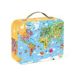 Janod Puzzle Mapa sveta v kufríku 1