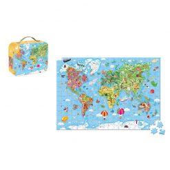 Janod Puzzle Mapa sveta v kufríku 3