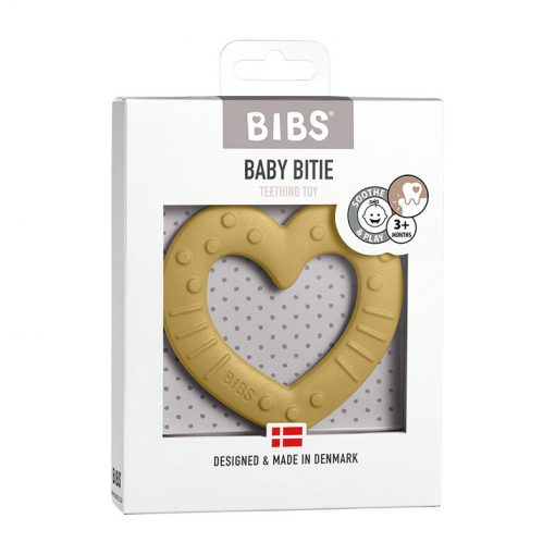 Bibs Baby Bitie hryzátko Heart Mustard 1