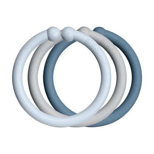 Bibs Loops krúžky (12 ks), Baby blue, cloud, petrol 2